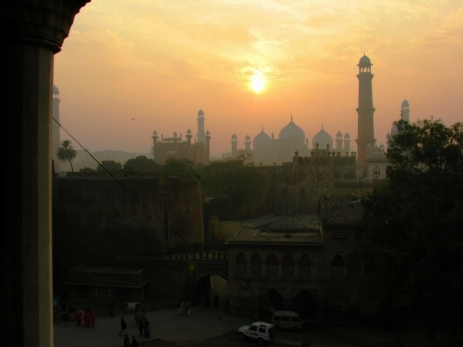 Late afternoon sun over Badshahi Mosque from the Lahore Fort