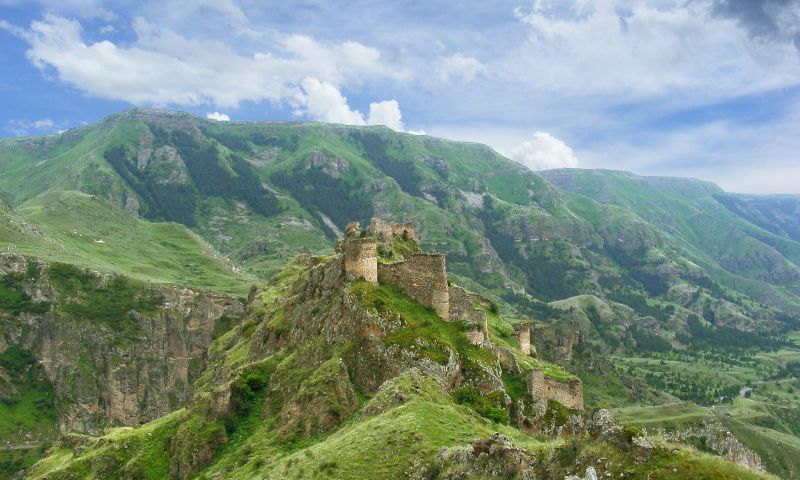 The remains of Deo Safed's fortress in the Caucasus Mountains