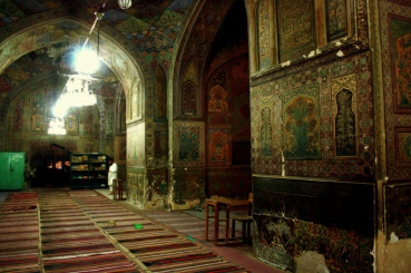 Tilework and frescoes in Wazir Khan Mosque