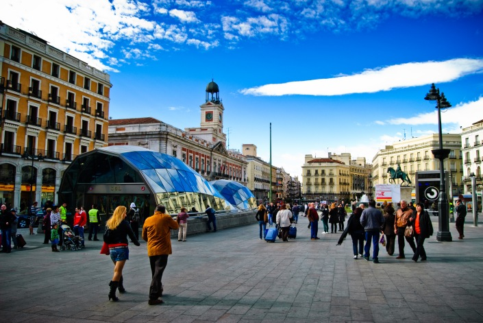"Puerta del Sol, ""Gate of the Sun"", the very busy symbolic center of Madrid"