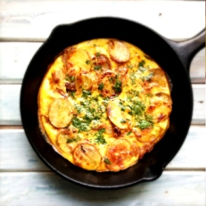 Spanish Tortilla with a Pakistani twist - cumin spiced potatoes!